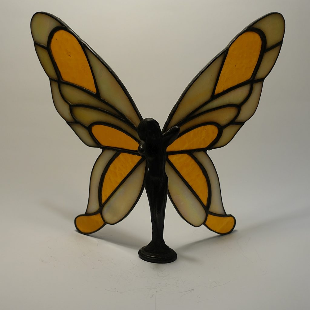 Elfe stehend-Zinn/Bleikörper 3D-transparent-amber-hammered