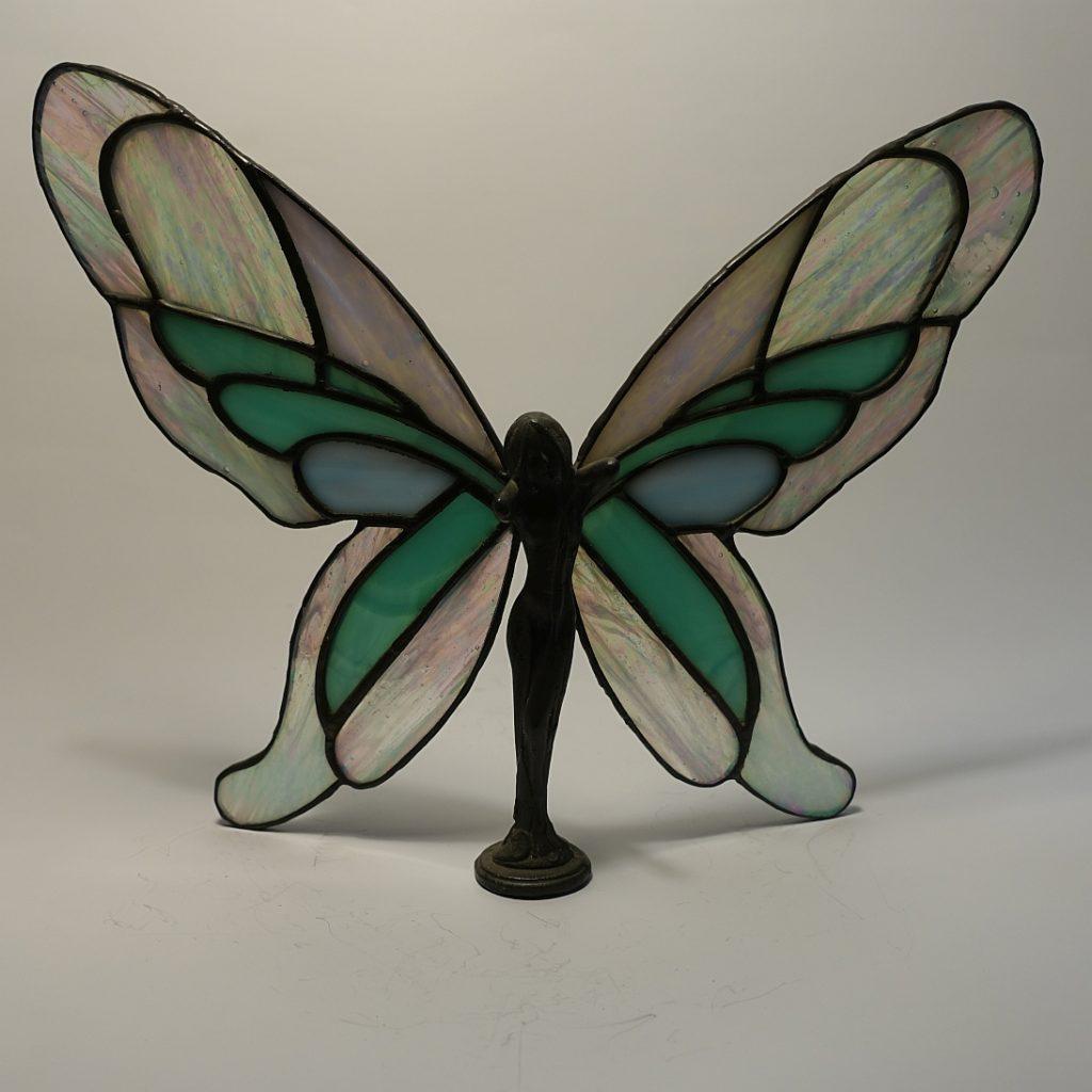 Elfe stehend mit Zinn/Bleikörper 3D-halbtransparent klar-weiß irisierend