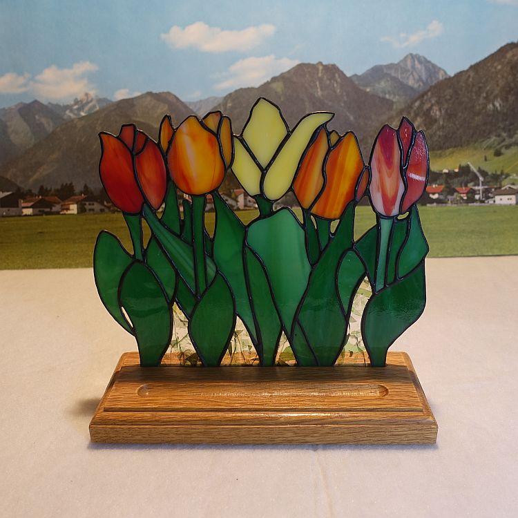 Blumenbeet Tulpen stehend Bunt