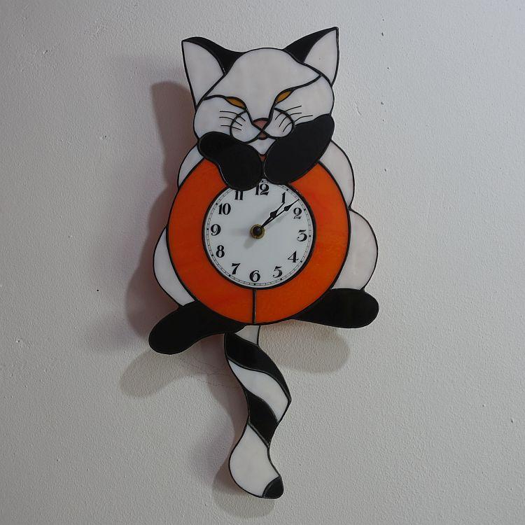Pendel Uhr Katze